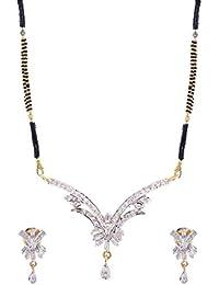 Jewelstone 22 K Gold & Rhodium Plated American Diamond Mangalsutra Set With Earrings & Triple Black Beaded Chain - B01FM9UO5O