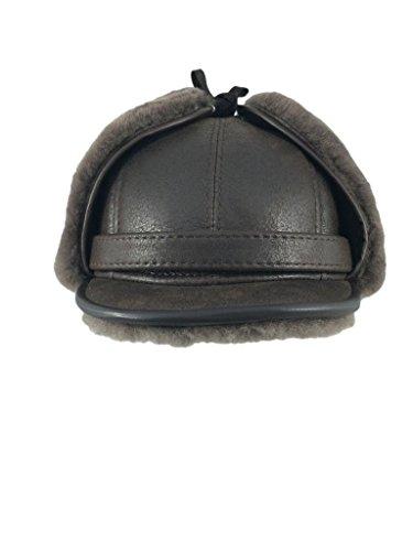 Zavelio Men's Shearling Sheepskin Elmer Fudd Visor Hat Large Cashmere