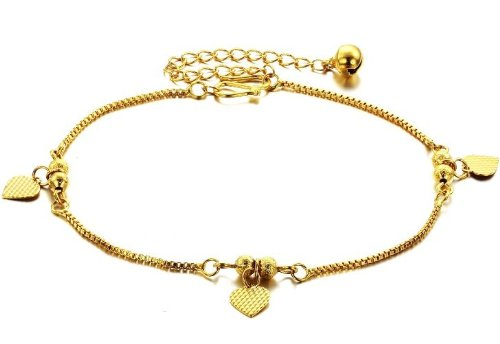 bigsoho Fashion 18k Gold Plated Golden Bell 6 Beads Love Heart Pendant Adjustable Foot Chains Children/Women Anklet Bracelet