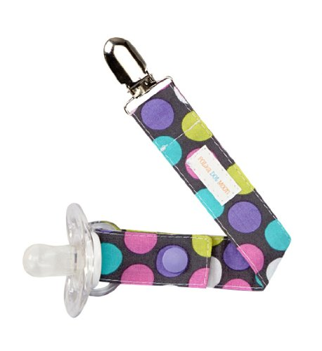 Girl Pacifier Clip in Pink & Purple Polka Dots