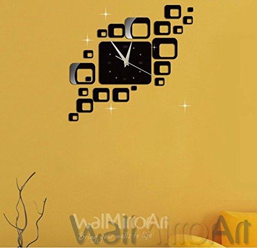 qwer Specchio continentale orologi home arte acrilico specchio a parete superficie piazza Roma orologio digitale Z063, oro