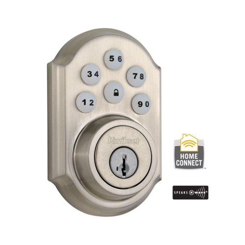 (99100-005) Smartcode 910 Single Cylinder Satin Nickel Electronic Deadbolt With Home Connect Technology Featuring Z-Wave
