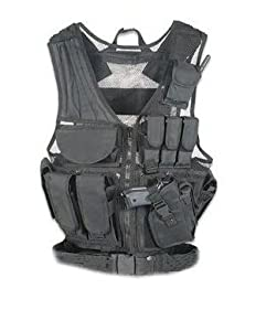 Ultimate Arms Gear Stealth Black Lightweight Edition Tactical Scenario Military-Hunting Assault Vest w/ Right Handed Quick Draw Pistol Holster