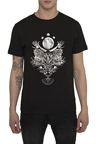 Maglietta Moda da Uomo, T Shirt Metallica, Fashion Rock, Maglia Nera con Stampa in Argento - NIGHT HUNTER Design Vintage Metal, Magliette di Cotone, Girocollo, Maglie Designer Urban Cool S M L XL XXL