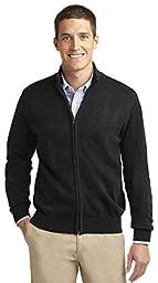 Port Authority Men\'s Full-Zip Mock Neck Sweater_Black_Small