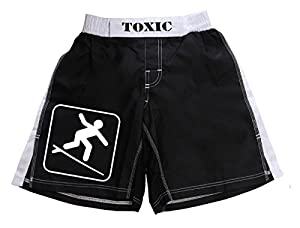 Toxic Surfwear - Short de bain/plage motif panneau « attention surfeur » - noir - M