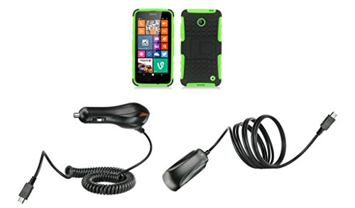 Nokia Lumia 635 (At&T, T-Mobile) / Nokia Lumia 630 (Cricket) - Black And Neon Green Pathfinder Dual Hybrid Armor Case + Atom Led Keychain Light + Wall Charger + Car Charger