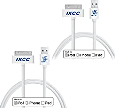 [ Apple MFi Certified ] iXCC ® 3ft 30 pin to USB Sync and Charge Cable Cord for Apple iPhone 4, iPhone 4s/ iPad 2, iPad 3 / iPod 1, iPod 2, iPod 3, iPod 4, iPod 5, iPod 6 [ 2pc White ]