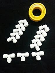 Psi thread connectors 1/4 Thread Connectors + T connectors For RO/UV/UF Pipes/Tubes Water Filters Purifiers (White)