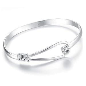 Atlas Jewels Women's Sterling Silver Knot Petite Fashion Bangle Bracelet Jewelry