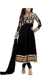 Kimberly Women's Georgette Anarkali Embroidered Semi-Stitched Salwar Suit (SRA-04_Black)
