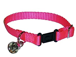 Sandia Pet Products Neon Pink Ferret Collar with Bell - Adjustable 6 to 8 Inches
