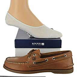 Sperry Men\'s Authentic Original Shoe with FREE No Show Socks Bundle Sahara size 8M (US)