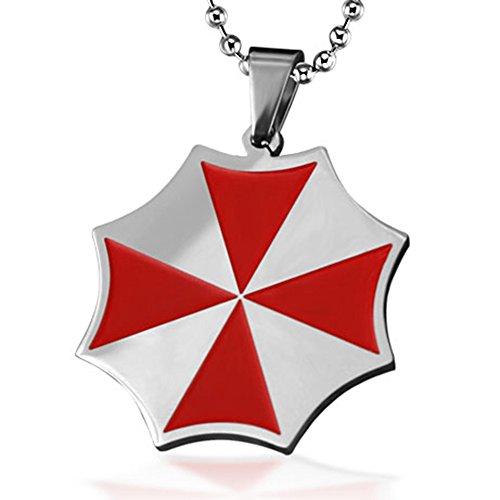 Gambulin Collana in acciaio inox Resident Evil Umbrella Corporation logo a pendente, Resident Evil collana di Uomini, ragazzi