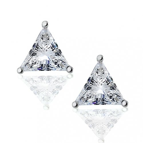 Bling Jewelry Sterling Silver Basket Set Trillion Cut CZ Unisex Triangle Stud Earrings - 8mm