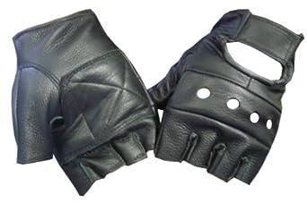 Motorcycle gloves half finger - Black Leather Fingerless Motorcycle Biker Glove Leatherbull Free U