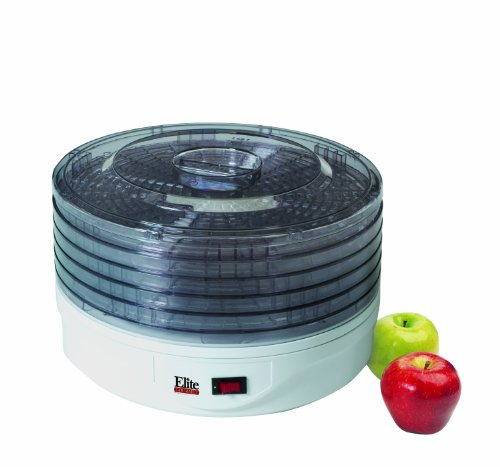 MaxiMatic EFD-1010 Elite Gourmet 5-Tray 135-Watt Rotating Food Dehydrator, White