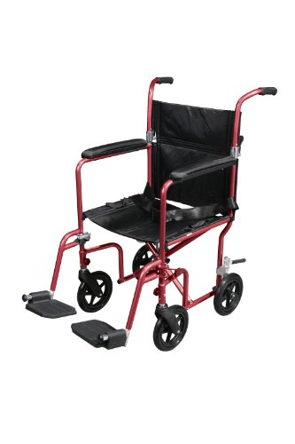 Drive Medical Flyweight Lightweight Transport Wheelchair with Removable Wheels, Red