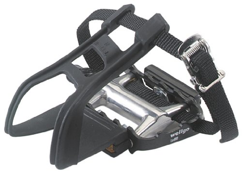 Avenir Ultralight Pedals with Toe Clips and Straps, Black/Silver, 9/16 Inch Axle