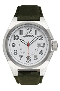 Zippo Sports Watch with White Dial and Olive Drab Fabric Strap