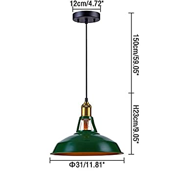 Kiven Industrial Barn Pendant Light Vintage Green Retro Hanging Light Warehouse Lighting Pendant Lighting For Kitchen Island