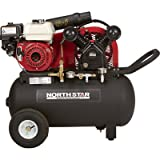 - NorthStar Portable Gas-Powered Air Compressor - Honda 163cc OHV Engine, 20-Gallon Horizontal Tank, 13.7 CFM @ 90 PSI