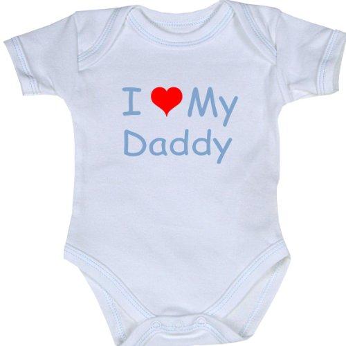 Babyprem Baby I Love (Heart) My Daddy Clothes Bodysuit Vest Crawler 0-3 Mths Blue