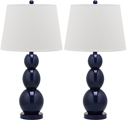 Safavieh Lighting Collection Jayne Three Sphere Glass Table Lamp, Navy Blue, Set Of 2 front-227059