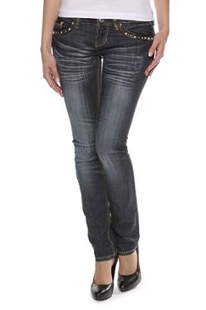Antique Rivet Straight Leg Jeans LINDSEY, Color: Dark blue, Size: 28