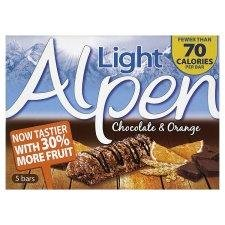 Alpen Light 5 Bars Chocolate And Orange 21 Gram - Pack of 6
