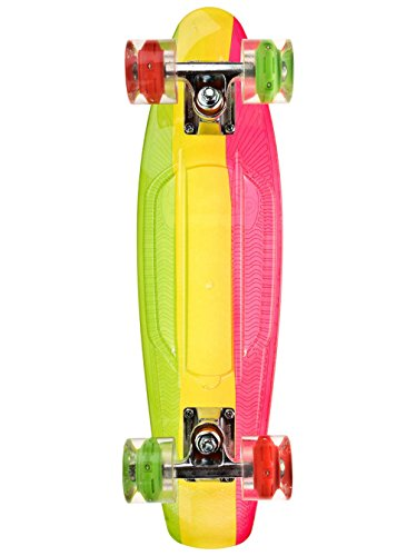 Sunset Skateboard Co. Rasta Graphic Complete Skateboards, Rasta Stripe Deck R/Y/G-Red/Green Led Wheels
