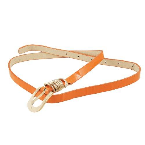 Ladies Gold Tone D Rings Decor Orange Faux Leather