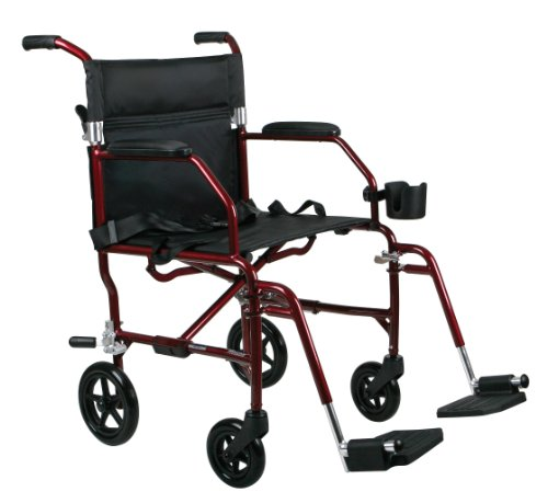 Medline MDS808200SLRR Ultra Lightweight Transport Wheelchair, Red