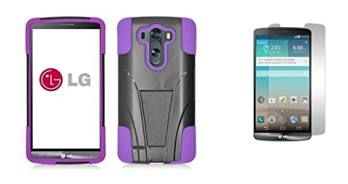 Lg G3 Vigor - Black & Purple Dual Layer Impact Defender Shockproof Armor Kickstand Cover Case + Atom Led Keychain Light + Screen Protector Guard