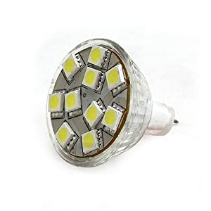 Ledwholesalers Brightest MR11 12 Volt AC DC 10 5050 SMD LED Bulb Wide Angle 160 Lumen 2.5 Watt, White, 1113WH