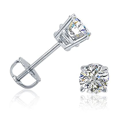 1/2ct tw Round Diamond Stud Earrings set in 14K White Gold with Screw-Backs IGI Certified