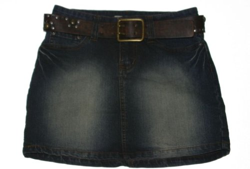 Girls Studded Jean Denim Belted Mini Short YMI Skirt