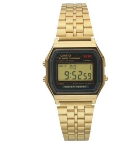Black Easy To Read Dial Casio Unisex Gold LCD Bracelet Digital Watch