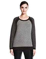 Autograph Jacquard Textured Jumper with Angora