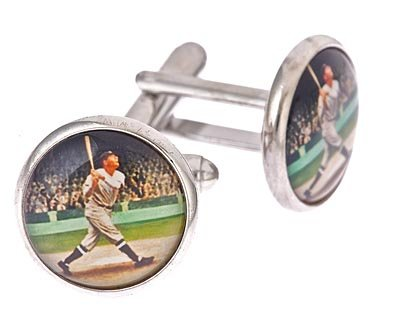 Silver plated 1920's Baseball player cufflinks with presentation box. Made in the U.S.A