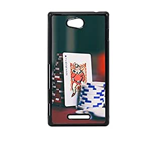 Vibhar printed case back cover for Sony Xperia C JokerPoker