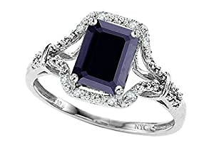 8x6mm Emerald Cut Genuine Black Sapphire and Diamond Ring 10k Size 8