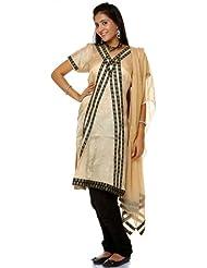 Exotic India Beige And Black Choodidaar Salwar Suit With Self Weave - Beige