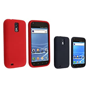 Everydaysource Red+Black 2pc Silicone Rubber Skin Gel Case Compatible With Samsung© Galaxy S2 T-Mobile T989
