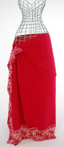 Cherry Sarong with 3 White Batik Flower Borders
