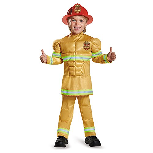 Disguise 84019L Fireman Toddler Muscle Costume, Large (4-6)