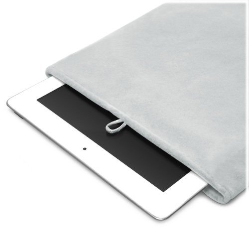 Grey Velvet Pouch Bag Sleeve Case for iPad 2, Android Tablet, Samsung Galaxy, Motorola Xoom, Kindle Fire, Kindle Touch, Asus Transformer, Sony Tablet S