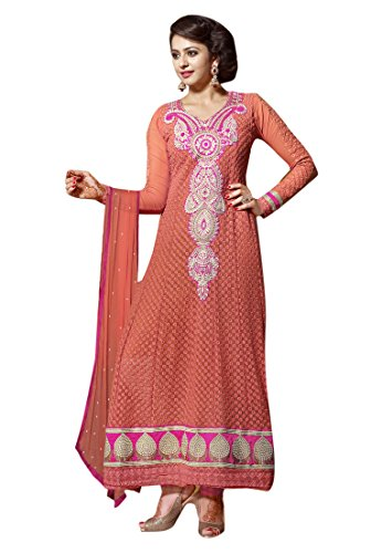 Lifestyle 7 Colors Lifestyle Orange Coloured Embroidery Georgette Semi-Stitched Anarkali Salwar Suit (Orange_Free Size)