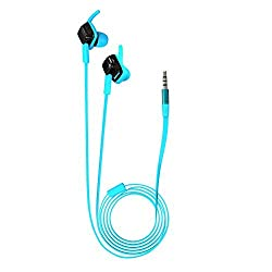 Jabees WE204M sports Wired Headphones / earphone with Mic and On-ear Remote Volume Control Clear Bass HiFi Stereo Earphone 3.5mm Gold Plated Plug Noodle In-ear Earbuds for iPhone and other Cell Phone MP3 Player etc (Volume Control works with iPhone, iPad, iPods only)- Blue