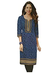 PShopee Blue Cotton Printed Unstitched Kurti/Top Material